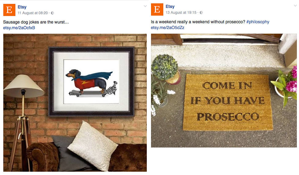 Product photography featured on Etsy's Facebook page