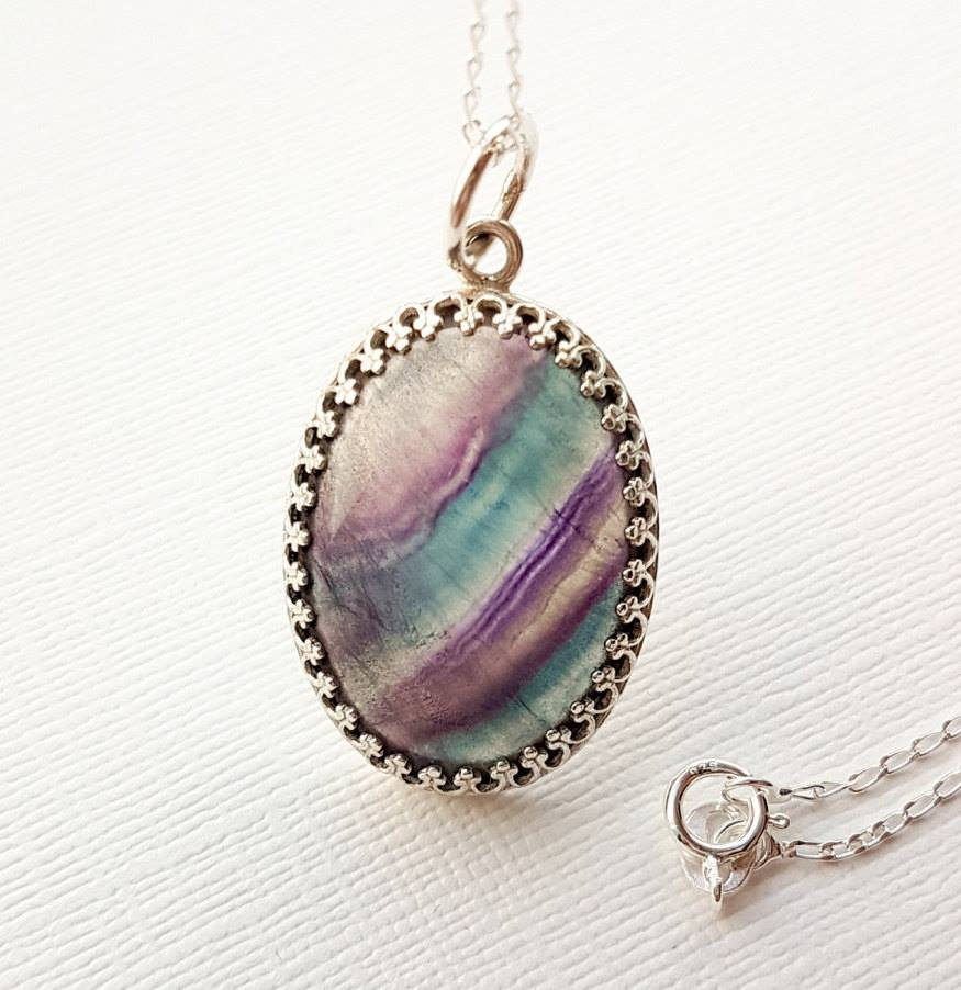 Sterling silver and fluorite open-backed pendant by Maxwell Harrison Jewellery - £20